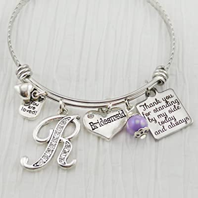 Bridesmaid Wedding Bracelet from Bride, Initial Charm Bracelet, Bridal Party Wedding Jewelry, Thank you for standing by my side today and always, You are loved, Maid of Honor Gift