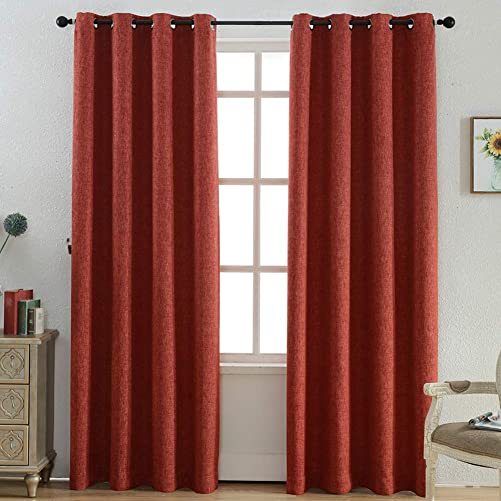Kotile Bedroom Curtain for Luxury Faux Linen Blackout Curtains, 2 Panels Grommet Top Energy Saving Heavy Thick Window Panels for Living Room, W52 x L95 Inches, Dark Orange