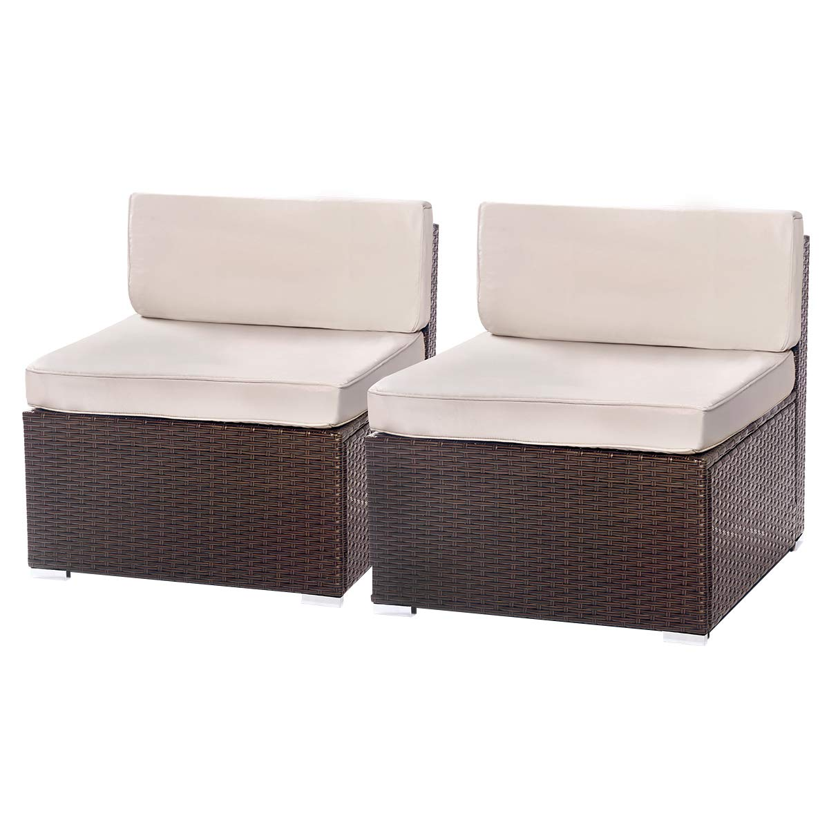 U-MAX 1-14 Pieces Patio sectional Sofa Set (2 Pieces, Brown) by U-MAX