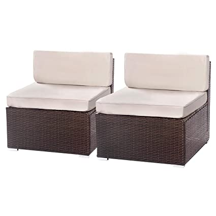 U-MAX 1-14 Pieces Patio sectional Sofa Set (2 Pieces, Brown)