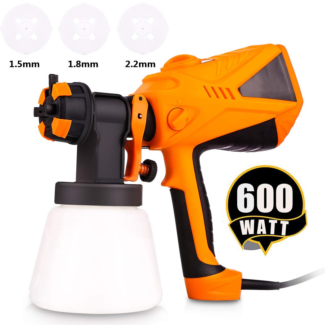 Paint Sprayer 600 Watt HVLP Electric Paint Sprayers Gun for Home Exterior Interior w/ 3 Nozzle Sizes 1000 ml Detachable Container (US Stock) by shaofu