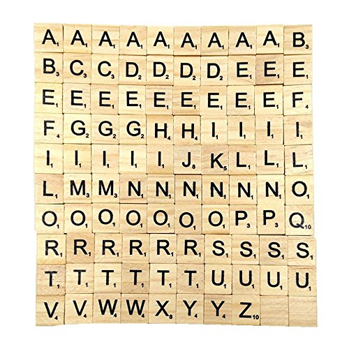 Game Pendant - Gospire 100 Pieces Smooth Wooden Letter Tiles Game Complete Set for Crafts Pendants and Spelling