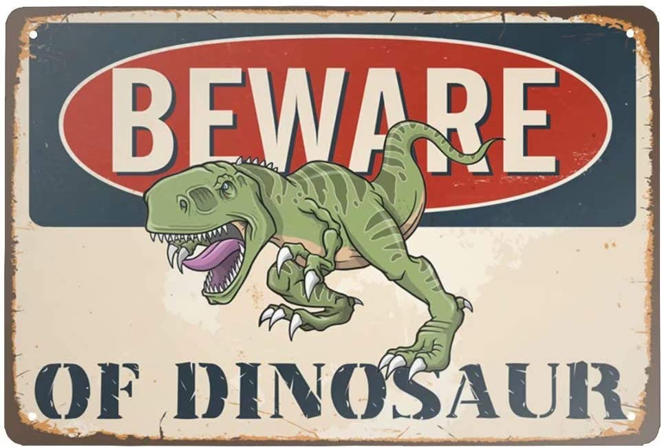 Angeloken Retro Metal Tin Sign Vintage Beware of Dinosaur Aluminum Sign for Home Coffee Wall Decor 8x12 Inch
