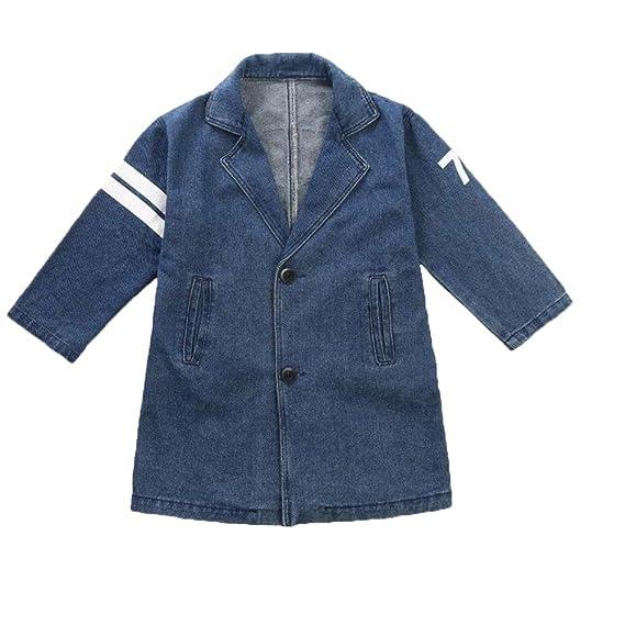 Bambino Vestiti Cappotto Giacca di Denim Abbigliamento Ragazzo Autunno  Outwear Tops Giacca a Vento Casual Manica 8986fe51322