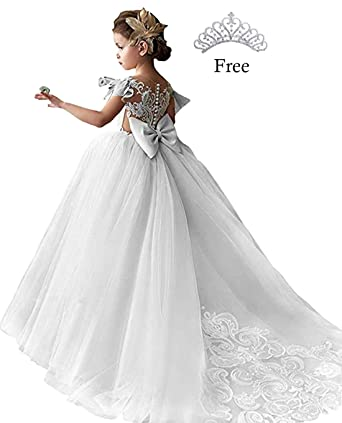 8c57c50ef4 Magicdress White Lace Flower Girl Dresses for Wedding Prom Party Ball Gowns  for Kids