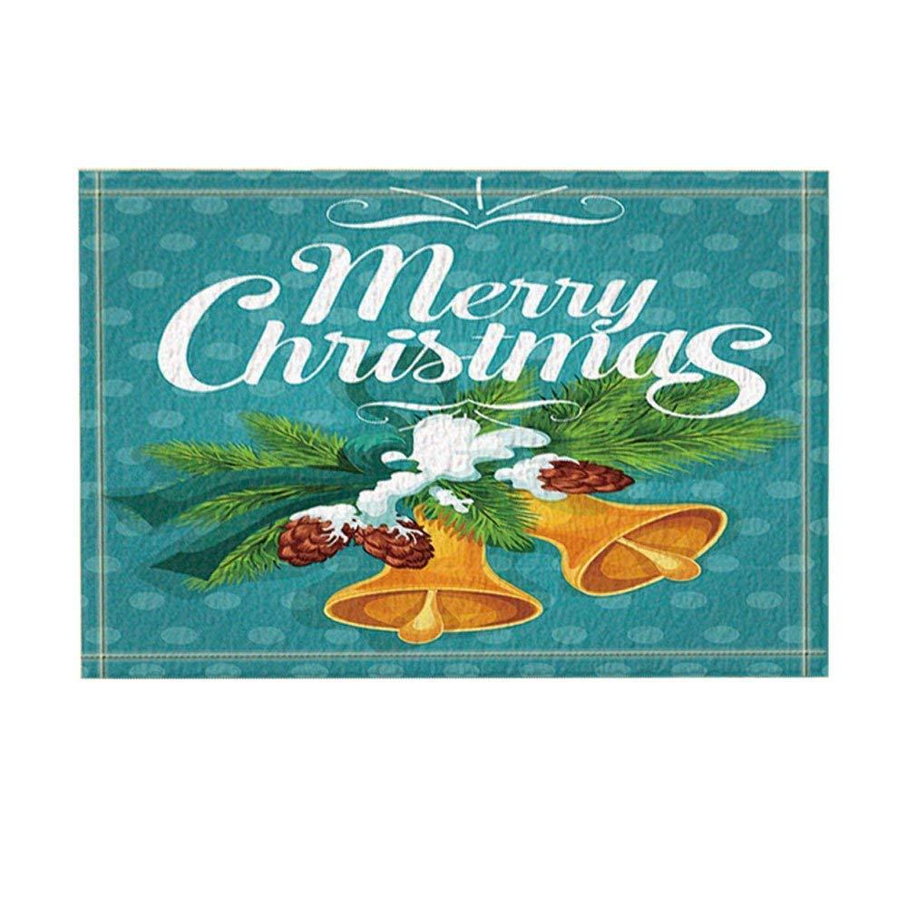 Christmas Decor Golden Jingle Bell on Fir Branch with Cone Covered with Snow Bath Rugs Non-Slip Doormat Floor Entryways Indoor Front Door Mat Kids Bath Mat 15.7X23.6In Bathroom Accessories Rrfwq
