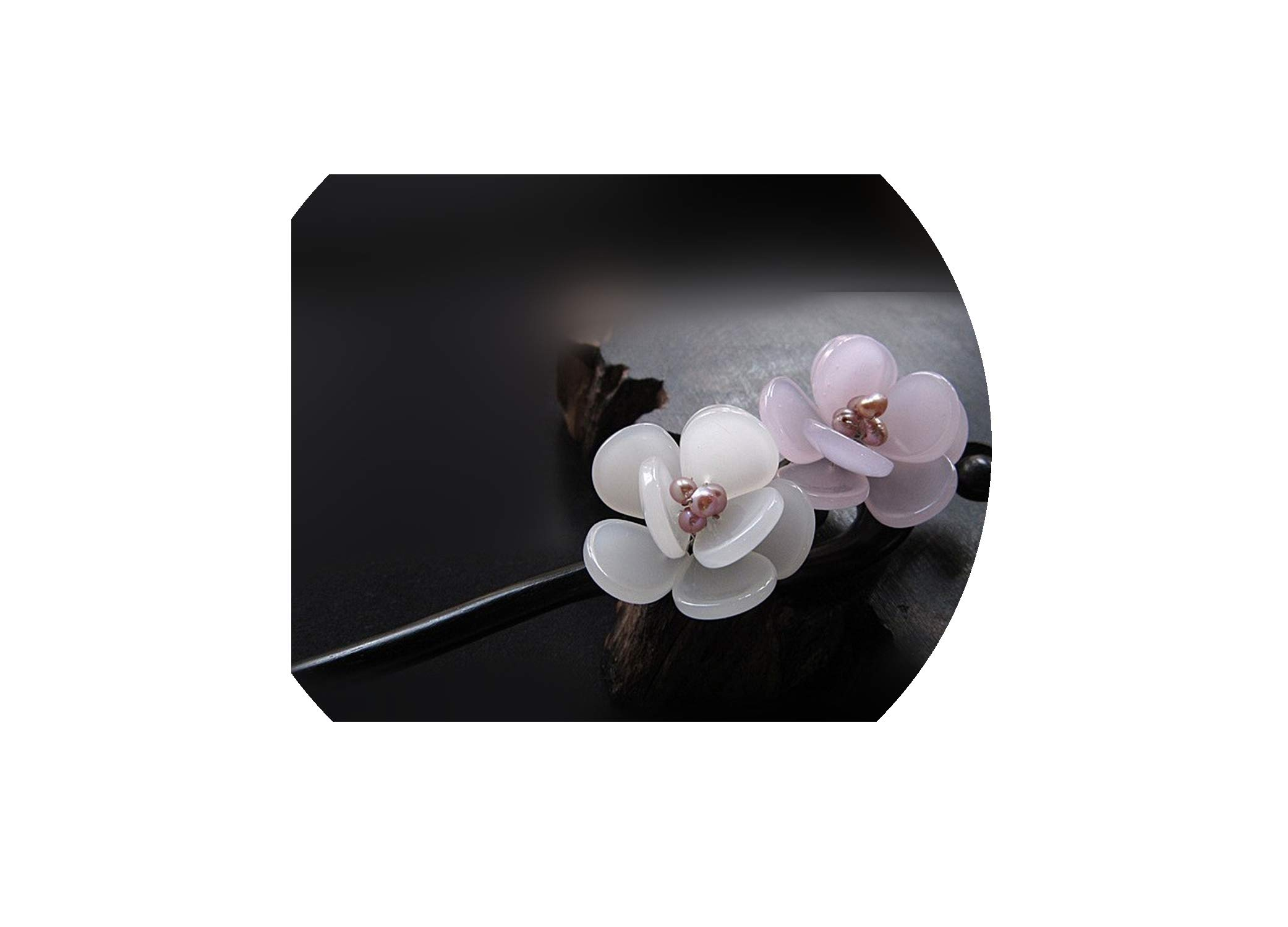 Rosewood Hair Stick Chinese Sticks Freshwater Pearl Jewelry Hand Carved Flower Hairpin,Rhodium Plated
