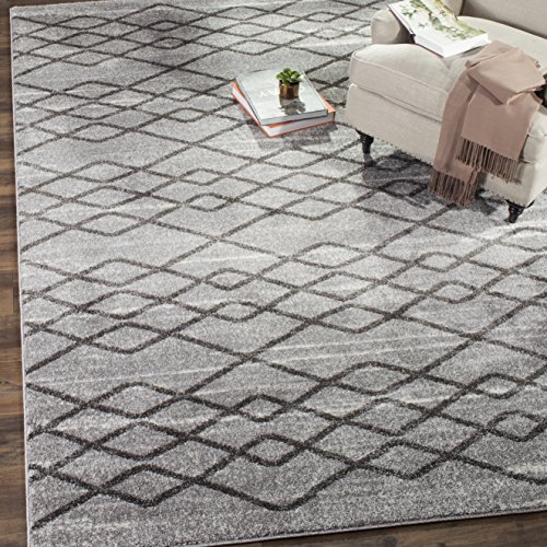 Safavieh TUN297K-3 Tunisia Collection and Black Area Rug, 3' x 5', Grey