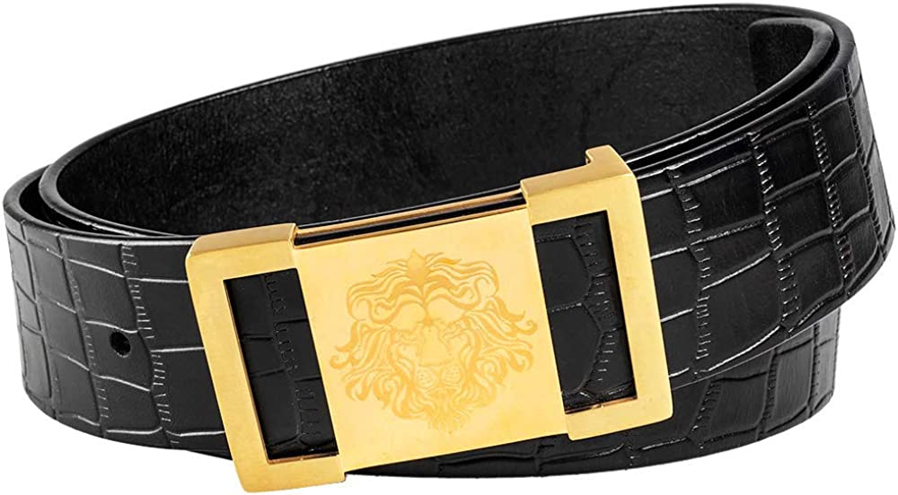 Martino Mens Black For Waist 44 Leather Belt Crocodile Textured Cowhide Belts for Men Lion Buckle With a Meticulous Gift Box