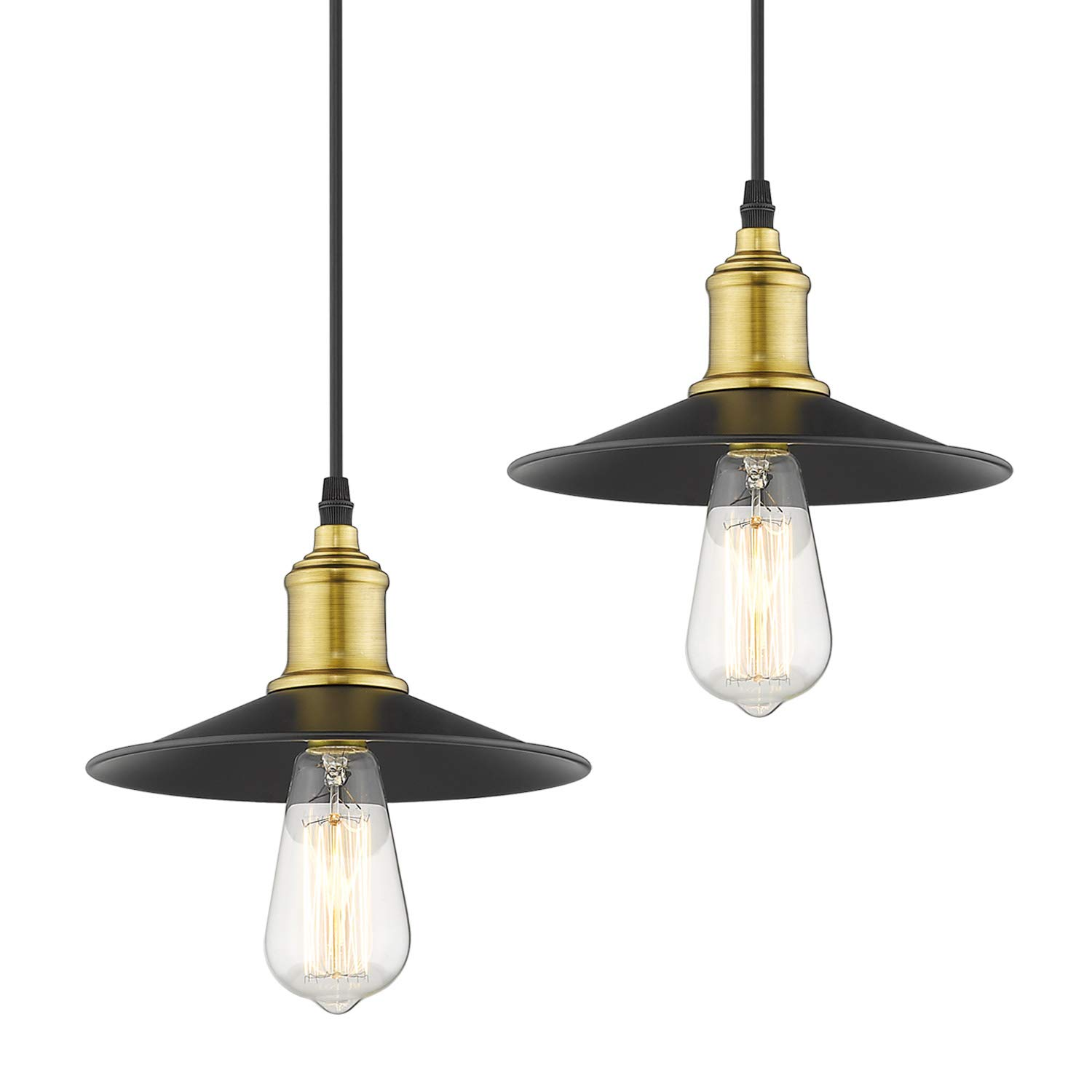 Jazava industrial pendant lighting mini adjustable hanging light fixture 2 pack for farmhouse antique brass black finish