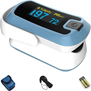 mibest OLED Finger Pulse Oximeter, O2 Meter, Dual Color White/Light Blue