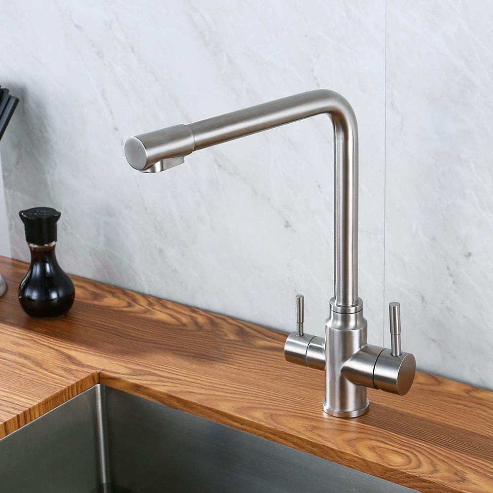 Decorry Double Handles Hot & Cold Drinking Water Kitchen Faucet Stainless Steel Round Solid Sink Deck Mount Mixer Water 3 Ways Tap