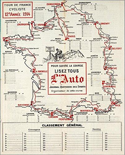 Historic Map | Tour de France Cycliste, 12e Annee 1914 | Historic Antique Vintage Map Reprint (Map Tour France De)