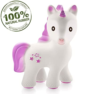 caaocho Baby Teething Toys - Mira The Unicorn Teethers for Babies BPA Free - Infant Toys Collection of Teething Toys - Natural Rubber Molar Teether - Great for Registry (Lavender) : Baby