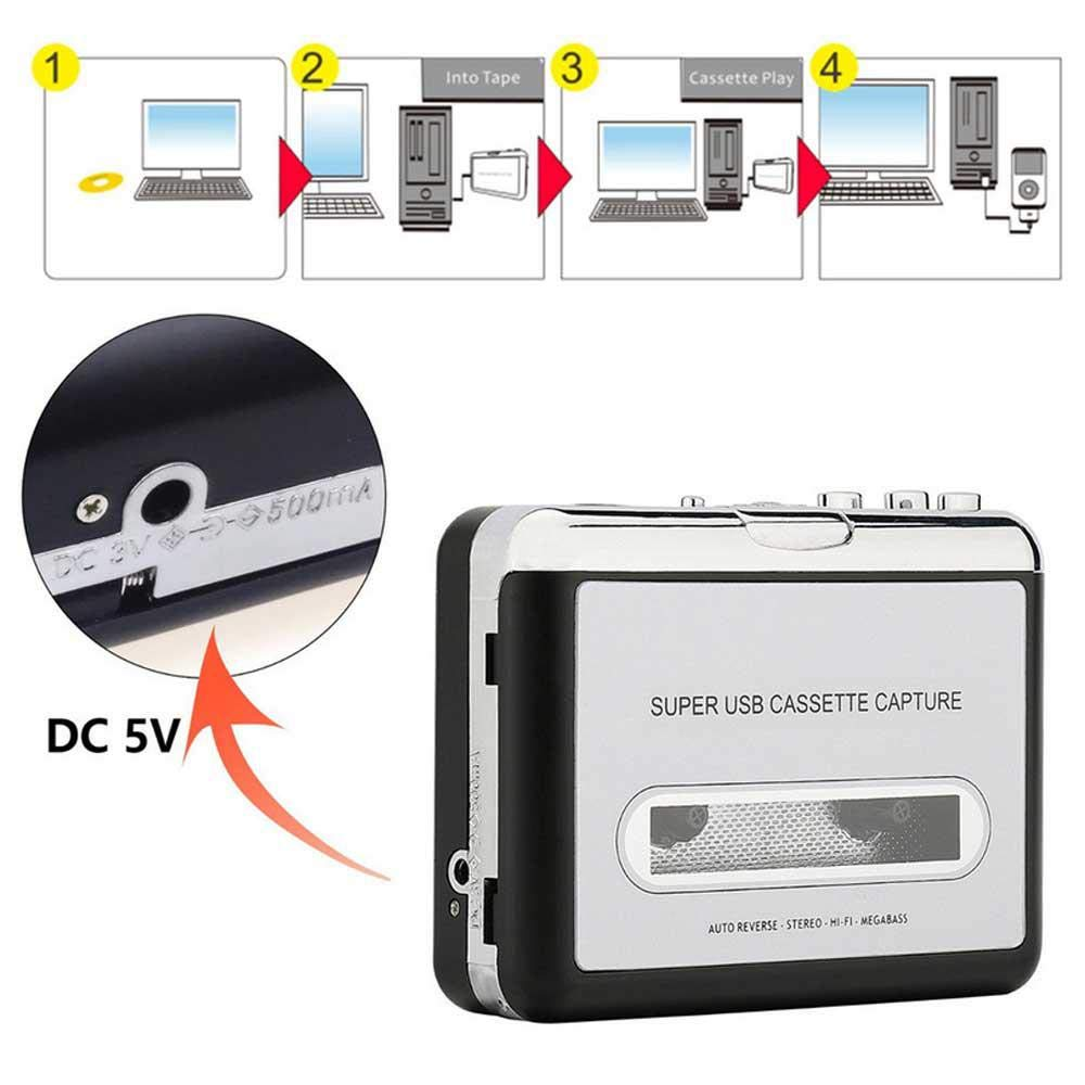 Upgraded Cassette Tape to MP3 Converter,USB Cassette Player Portable Tape to PC//Laptops Via USB Compatible with iTunes Includes Headphones and Software CD