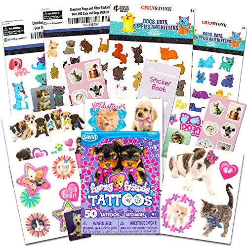 Puppy Stickers and Furry Friends Tattoos Party Favor Pack (Over 200 Stickers and 50 Temporary Tattoos)
