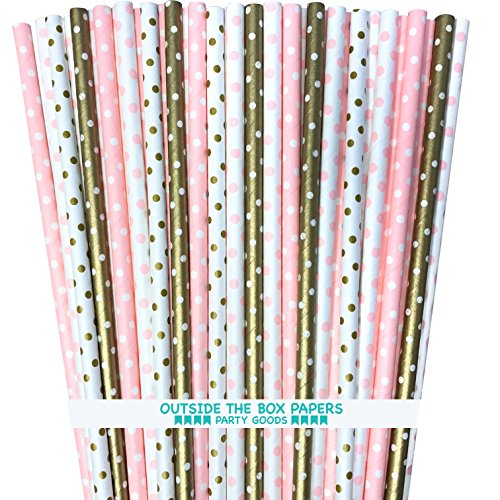 Polka Dot Paper Straws - Pink Gold White - 7.75 Inches - 100 Pack - Outside the Box Papers Brand ()