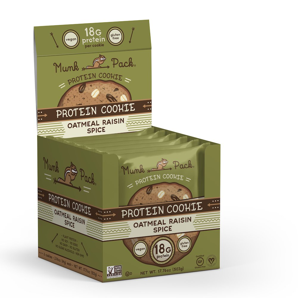 Munk Pack - Oatmeal Raisin Spice - Protein Cookie - 6 Pack - 18g Protein, Vegan, Gluten-Free, Soft Baked - 2.96oz