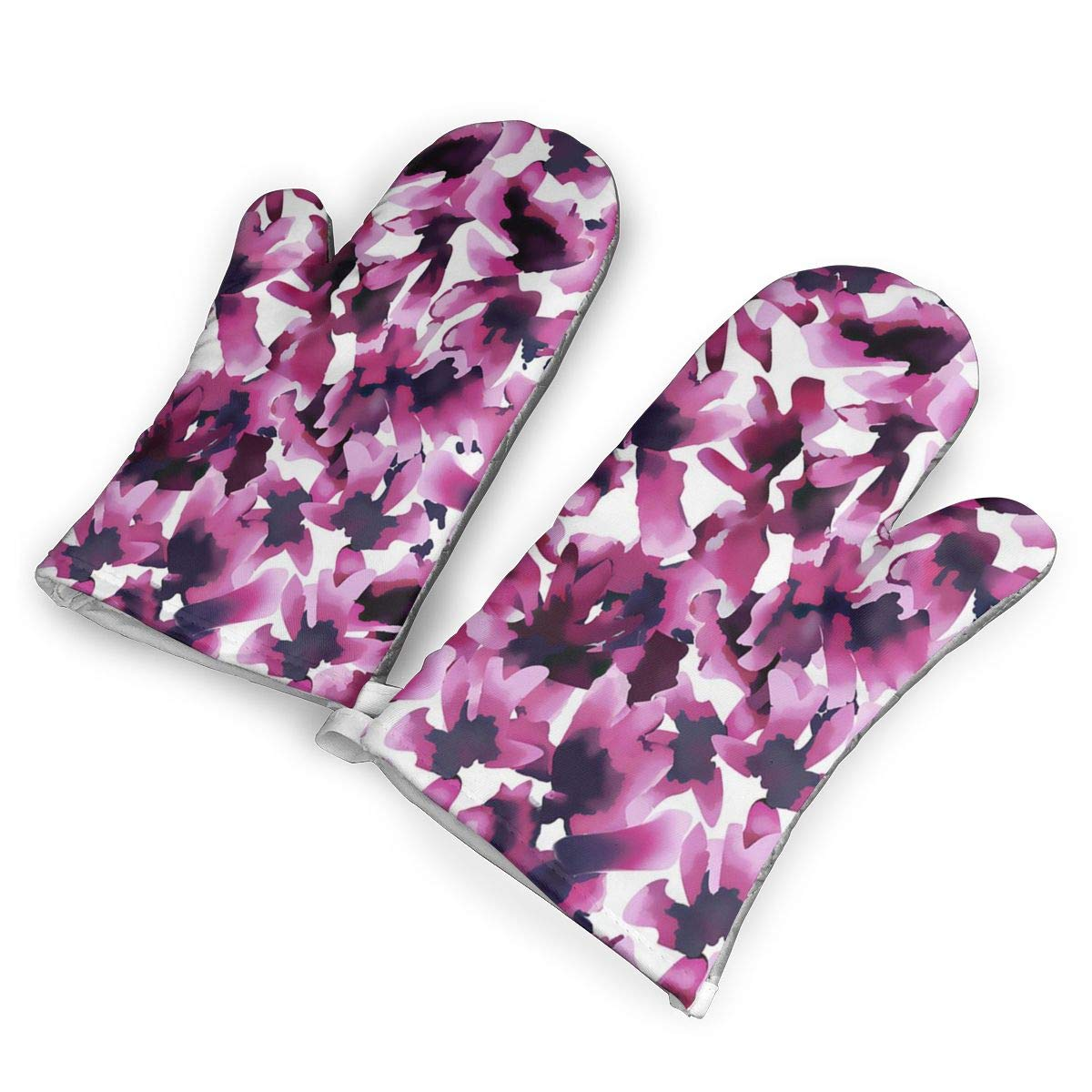 RACPIEC Oven Mitts 1 Pair of Quilted Cotton Lining Heat Resistant Kitchen Gloves Halo Pattern