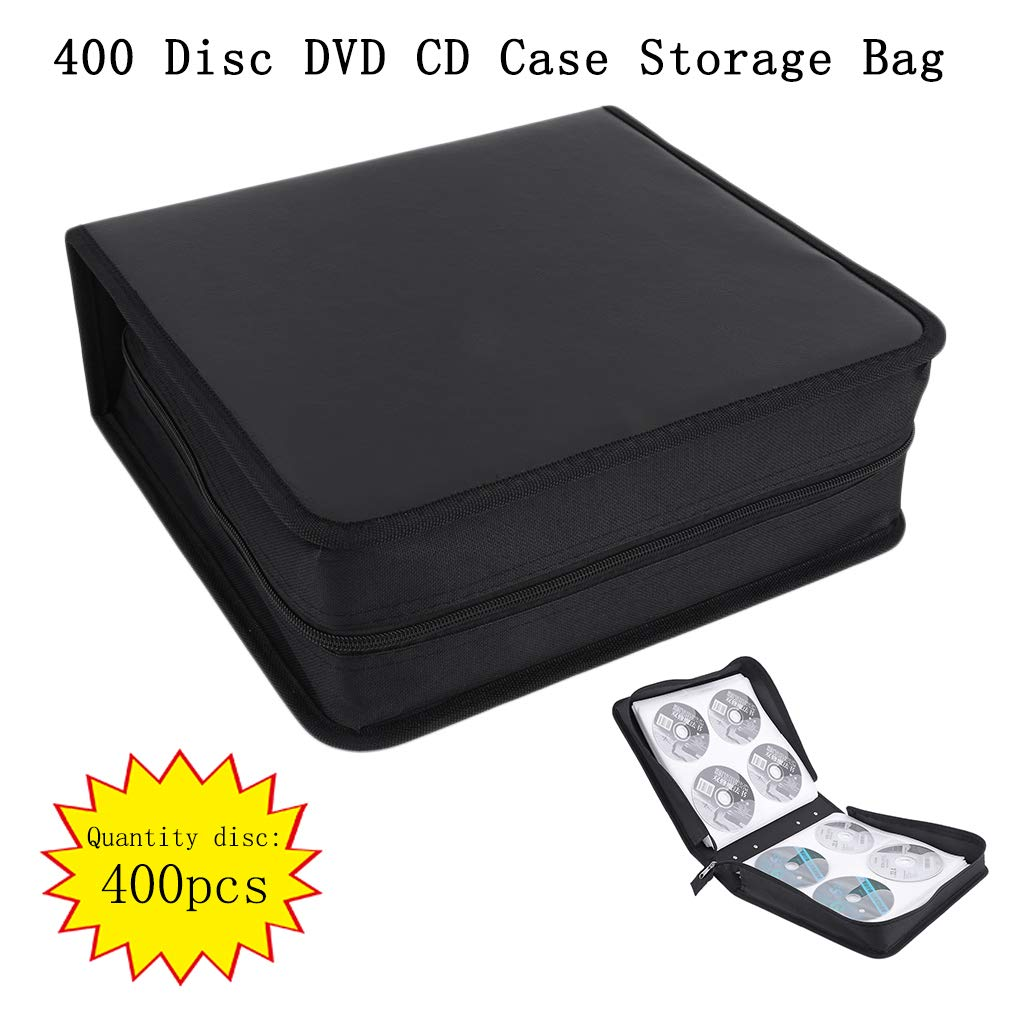 Graduador de Cuero de la PU de Alto Grado de 400 Discos CD Storage Holder Carry Case Bag Organizer (Color: Negro) FairytaleMM