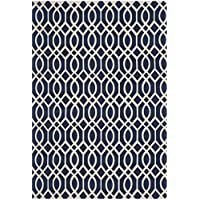 Safavieh Cedar Brook Collection CDR141D Handmade Navy and Ivory Cotton Area Rug (5 x 8)