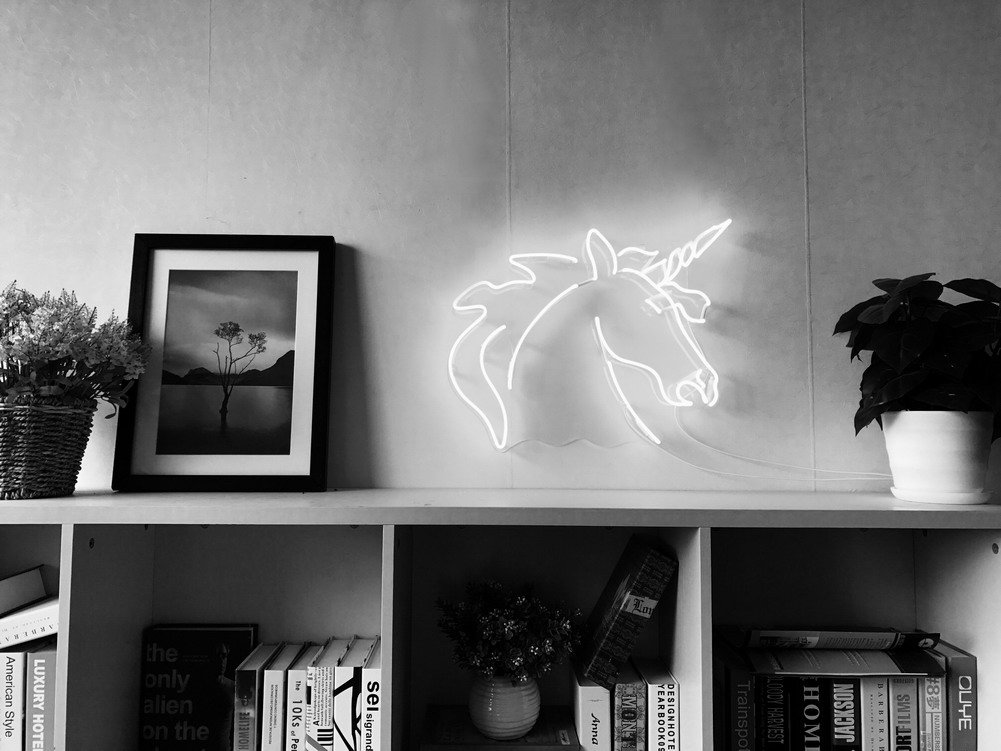 Unicorn Real Glass Neon Sign For Bedroom Garage Bar Man Cave Room Home Decor Handmade Artwork Visual Art Dimmable Wall Lighting Includes Dimmer