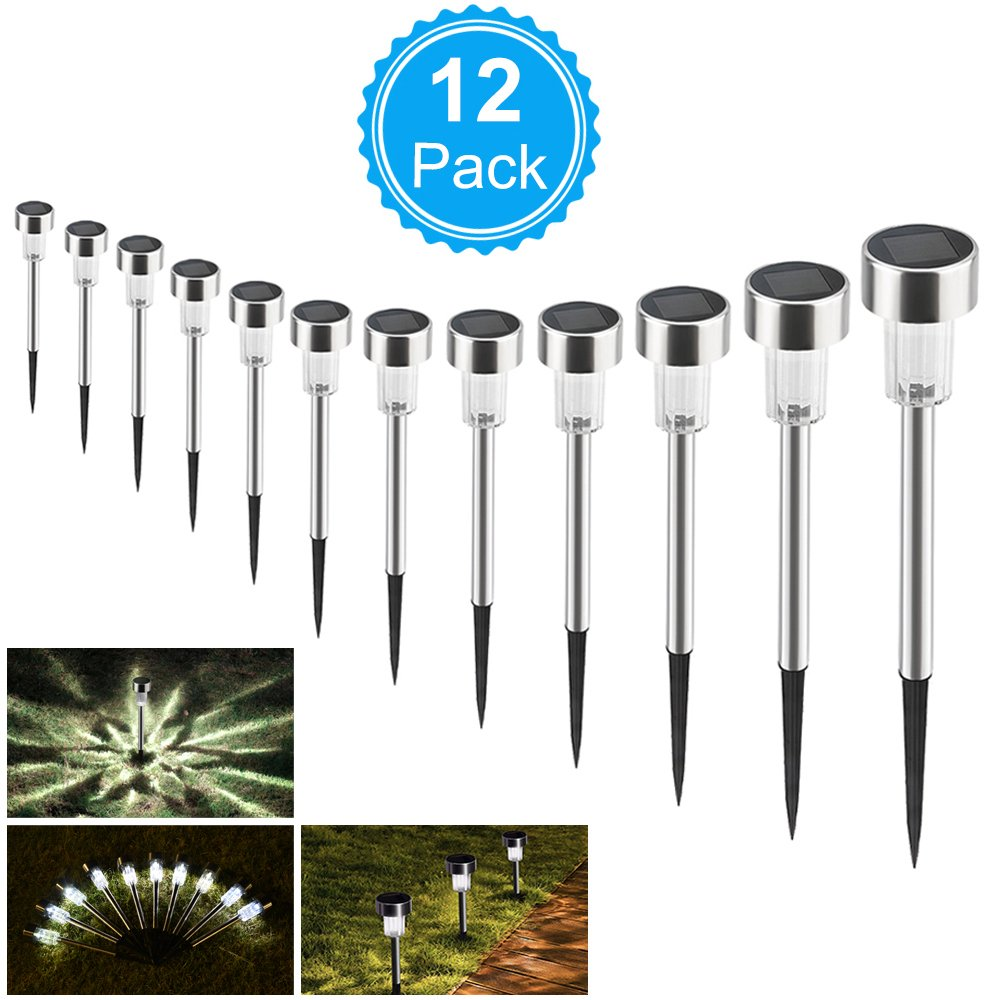 AUSHEN Solar Lights Outdoor Solar Garden Lights Stainless Steel LED Solar Pathway Lights,Waterproof Landscape Lighting Lawn/Patio/Yard/Walkway/Driveway(Warm White-12pc)
