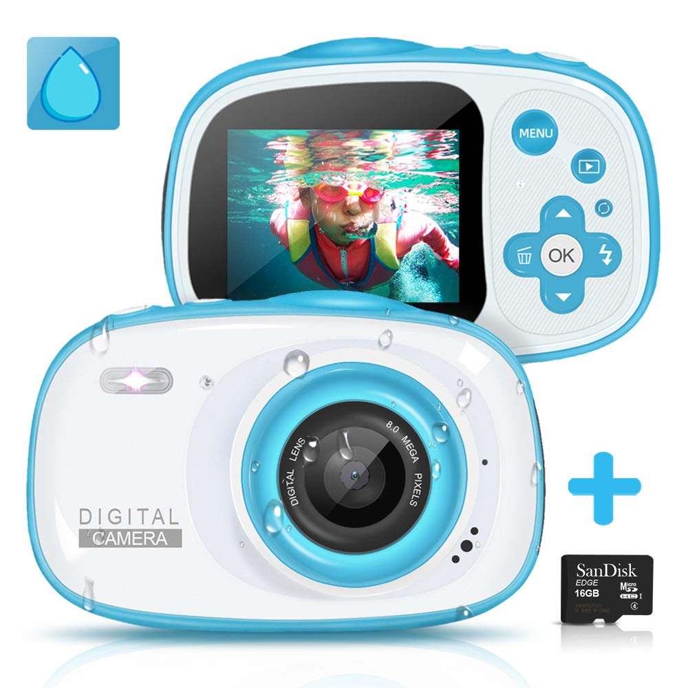 Kids Waterproof Digital Camera,6X Digital Zoom 8MP HD Underwater Action Camera Camcorder with 2-inch LCD Display-Best Gift for 4-10 Years Old Girls Boys Party Outdoor Play,16GB TF Card Included
