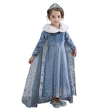 WEMEK Niñas Disfraz de Princesa Elsa con Capa Frozen Anna ...
