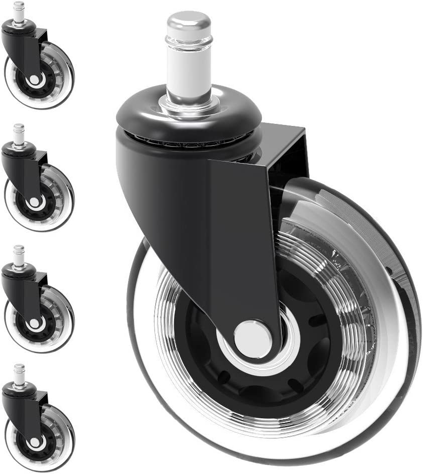 "Optimum Orbis Office Chair Caster Wheels Heavy Duty Safe for All Floors Including Hardwood Perfect Replacement for Desk Floor Mat Rollerblade Style 3"" (Set of 5)"