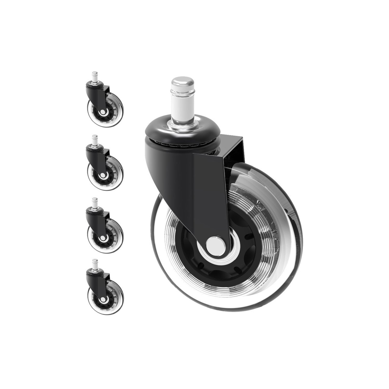 Optimum Orbis Office Chair Caster Wheels Heavy Duty Safe for All Floors Including Hardwood Perfect Replacement for Desk Floor Mat Rollerblade Style 3'' (Set of 5)