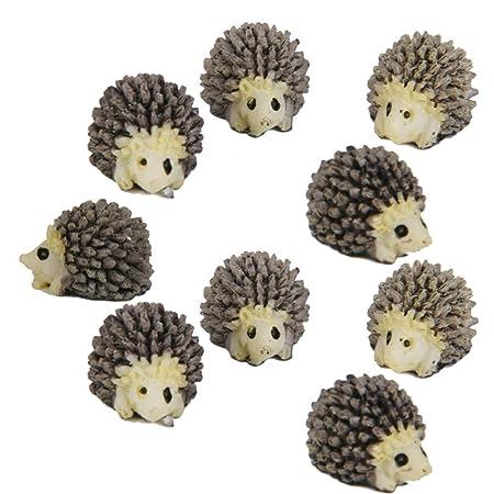 Electomania 10 pcs Miniature Dollhouse Bonsai Fairy Garden Landscape Hedgehog Decor (Polychromatic)
