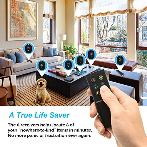 Whew Key Finder, Wireless Key Tracker Key Locator with Loud Beeping Sound, RF Item Tracker Locator Device with 1 Transmitter, 6 Receivers for Finding Keys, Car Keys, TV Remote, Wallet, Phone and More