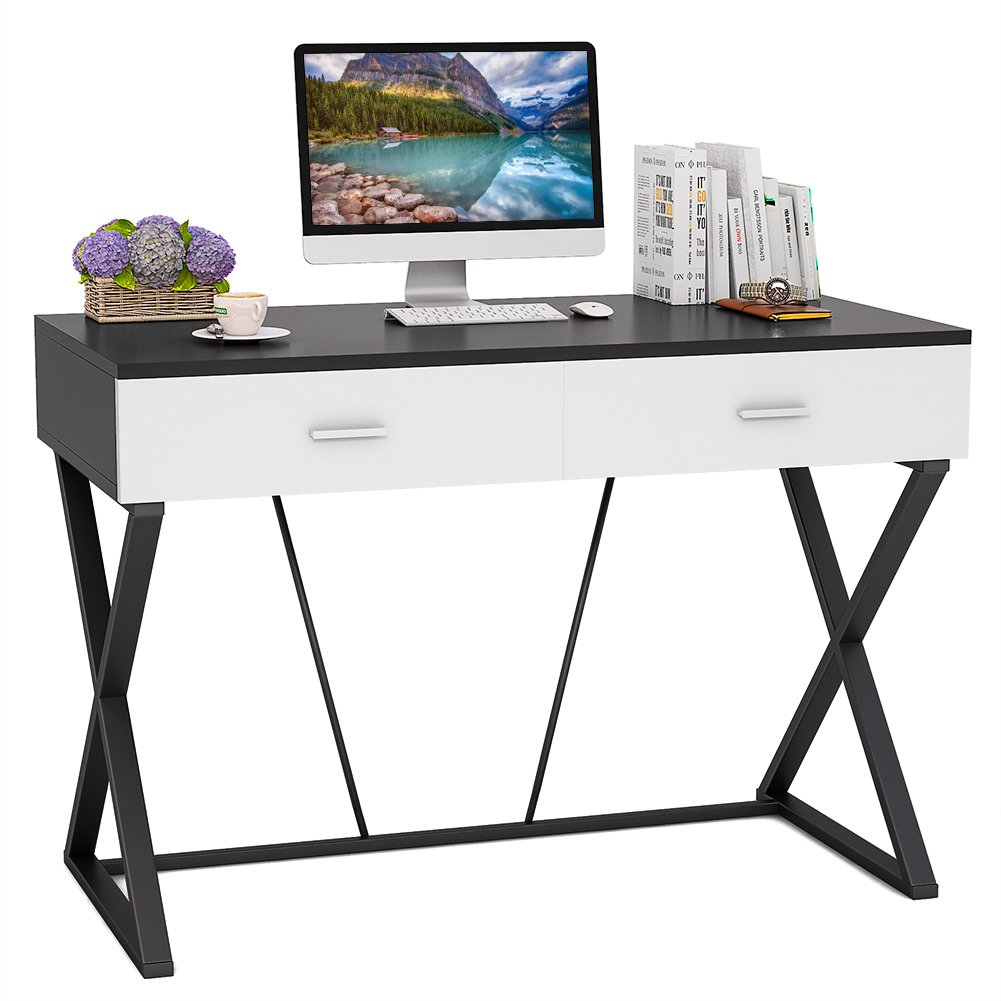 Tribesigns Computer Desk with 2 Drawers, X-Shaped Modern Writing Desk Office Desk Workstation for Home Office or Living Room