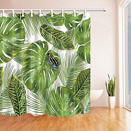 - Rrfwq Tropical Hawaiian Exotic Plants Decor Little Frog on Monstera and Palm Leaves Polyester Fabric Shower Curtains for Bath 70.8 X 70.8 inches