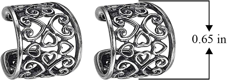 925 Sterling Silver Oxidized Celtic Heart Knot Ear Cuffs