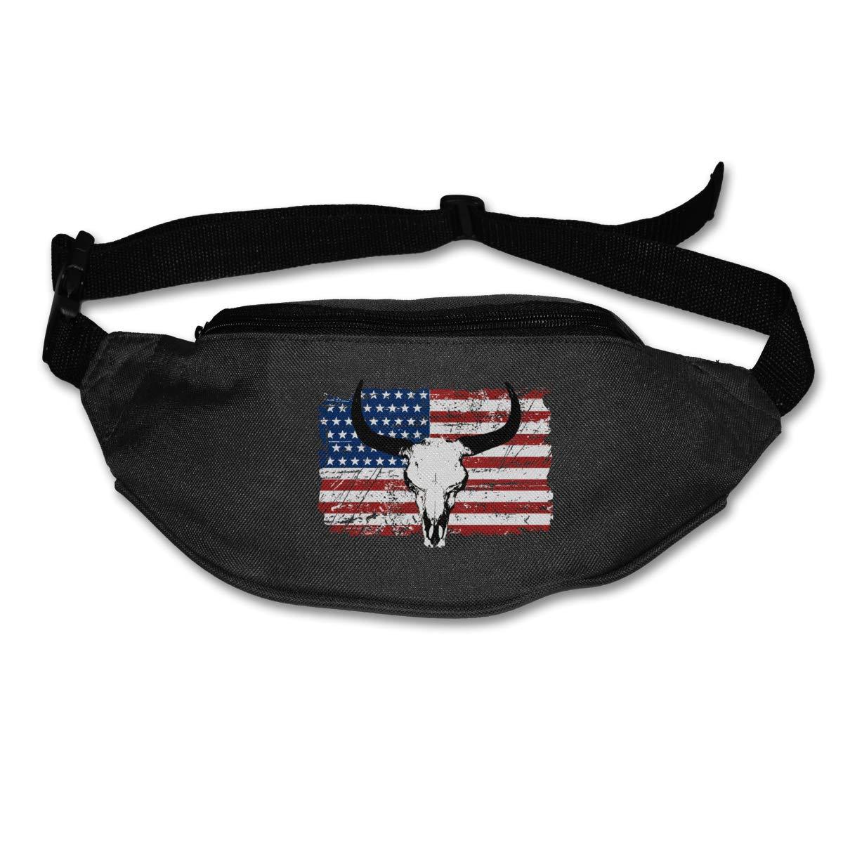 Cow Head US Flag Sport Waist Packs Fanny Pack Adjustable For Travel