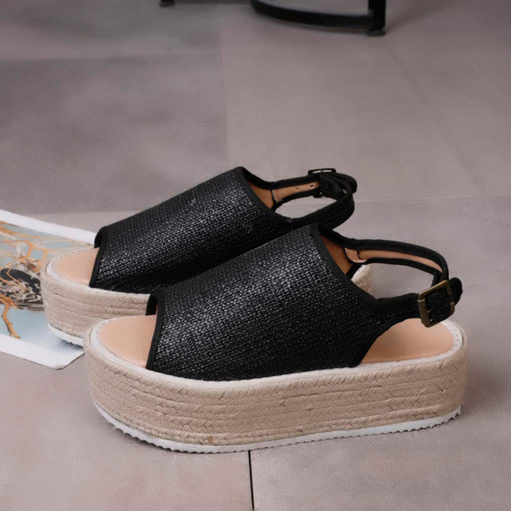 Women Sandals,Women Leopard Flat Platform Sandals Wide Width Shoes Ladies SummerFish Mouth Walking Sandals