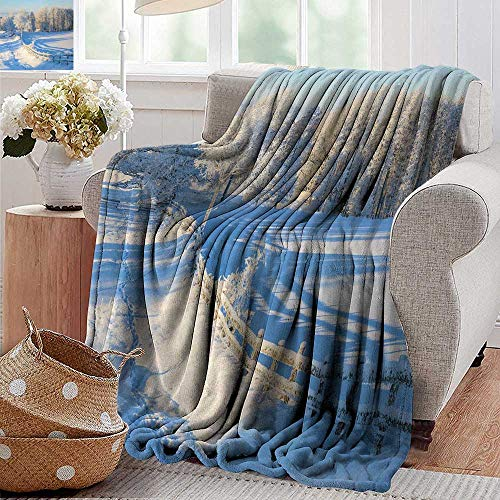 PearlRolan Throw Blankets Fleece Blanket,Farmland,Winter Snow Valley with Oak Borders Pines Frozen Pastoral High Cold Lands Art,White Blue,300GSM, Super Soft and Warm, Durable 60