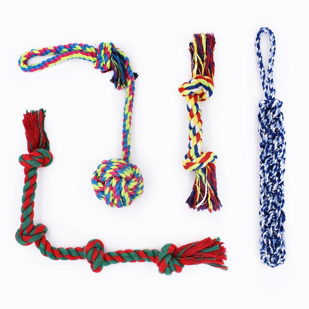 Ensemble de 4jouets à mâcher en corde pour chiens de moyenne et grande taille RIO Direct