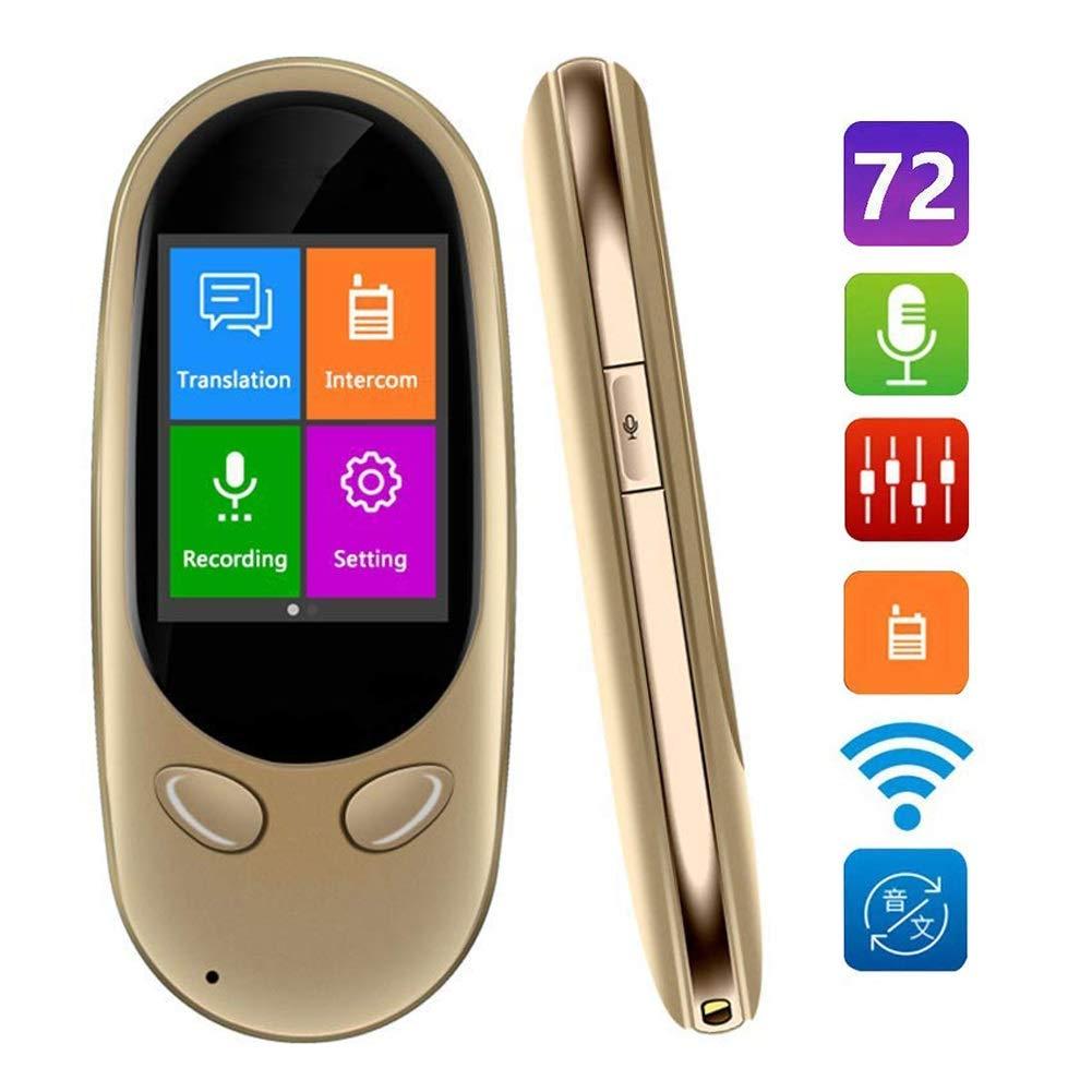 スマート言語トランスレータデバイス、72言語、双方向リアルタイムトランスレータ、ミニポータブルWiFiタッチスクリーン、インスタントデジタルレコーダーインターホン (色 : ゴールド)  ゴールド B07QSVCRL1