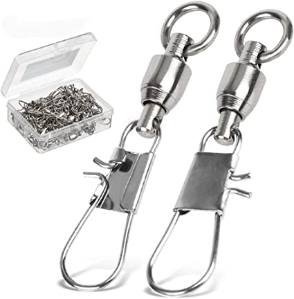 Stainless Steel Ball Bearing Swivels with Coast Snaps Fishing Connector Tackle