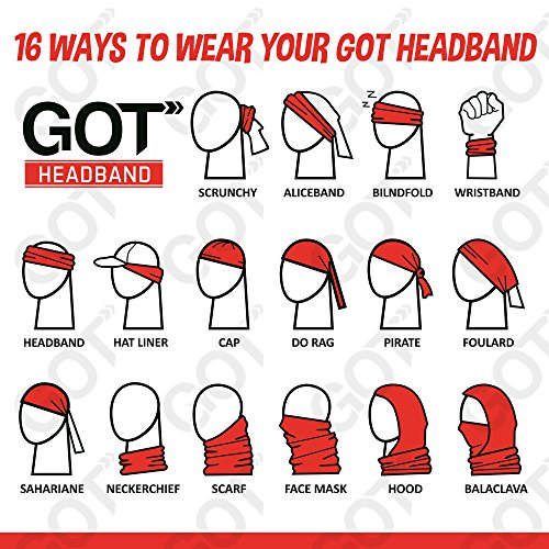 GOT 16-in-1 Headband - Multifunctional Microfiber Sports Headwear - Cycling, Running, Yoga, Fishing, Fashion - Breathable, Moisture Wicking - Works as Scarf, Dust Mask, Neck Gaiter (Crystal)