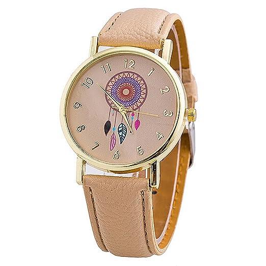 2016 Relogio Feminino señoras puntero puntero reloj de pulsera moda Atrapasueños mujeres Quarzt relojes Beige: Amazon.es: Relojes