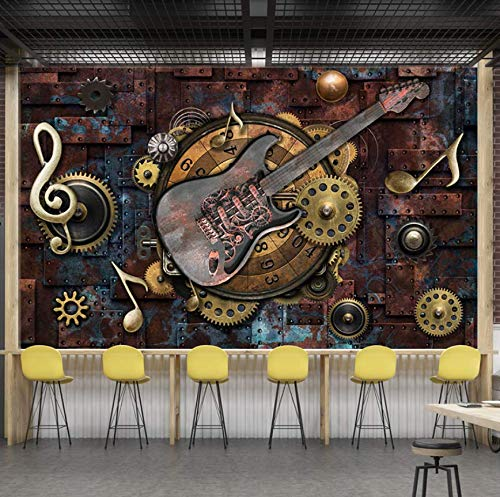 Wallpaper Custom Mural Wallpaper Wall Covering Retro Metal Gears Musical Notes Guitar Bar Ktv Background Picture Decoration Wall Painting,400Cm×280Cm