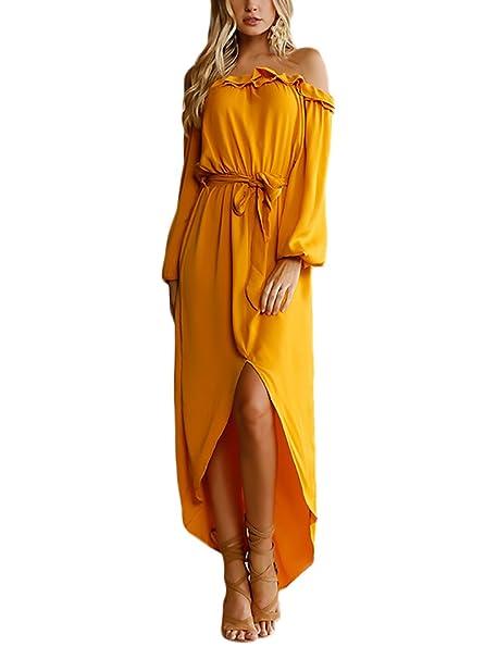 Mujer Vestidos Largos Otoño Invierno Elegantes Casual Vestir Amarillo Manga Larga Hombros Fiesta Estilo Descubiertos Volantes