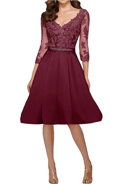 Burgundy ZLQQ Vintage Satin Applique Short Bridesmaid Dresses Half Sleeves Formal Evening Wedding Gown