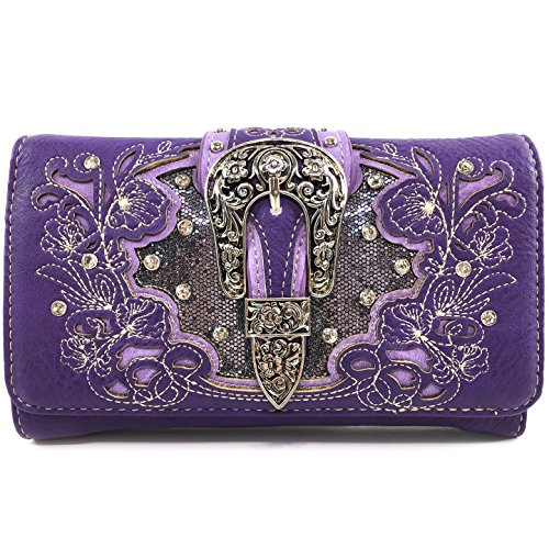 (Justin West Embroidery Floral Glittering Bling Rhinestone Buckle Shoulder Concealed Carry Handbag Purse Trifold Wallet (Purple Wallet))