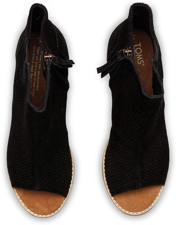 Toms Majorca Peep Toe Booties Black