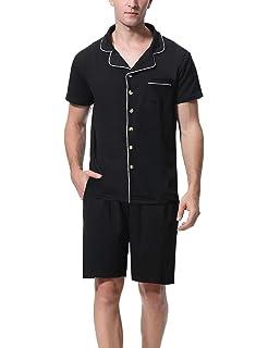 Hawiton Pijama Hombre Verano de Satín Pijamas Corto Hombre de Manga Corta Saten con Pantalón Dos Piezas: Amazon.es: Ropa y accesorios